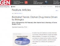 Orphan Drug Arena Driven by Biologics